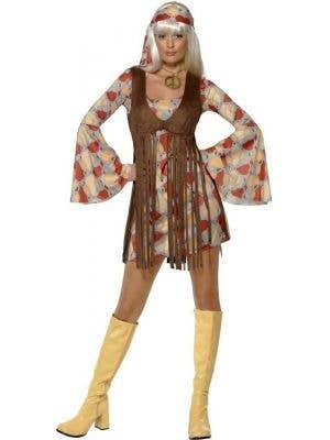 Women's 70's Fringed Hippie Fancy Dress Costume Front View