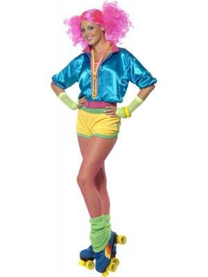 Women's 80's Neon Roller Disco Costume Front View