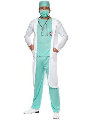 Mens Scrubs And Lab Coat Fancy Dress Doctor Costume - Main Image