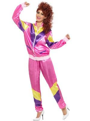 Women's 1980's Pink Shell Suit Retro 80s Costume - Front View