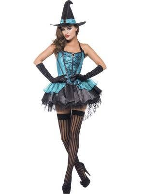 Women's Sexy Divine Blue Lacy Witch Halloween Costume Front View 1