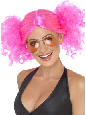 Hot Pink 1980's Bunches Women's Costume Wig