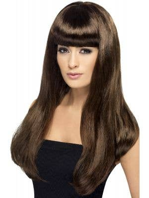Smiffys Babelicious Women-s Long Brown Wig with  Fringe- Main View