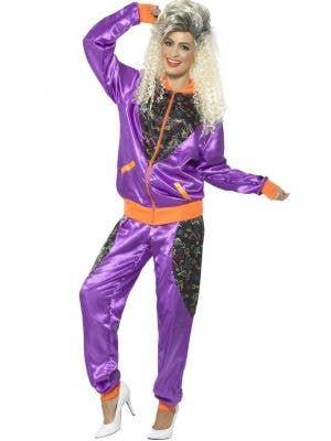 Retro Shell Suit Women's 1980's Purple Costume Tracksuit Main Image