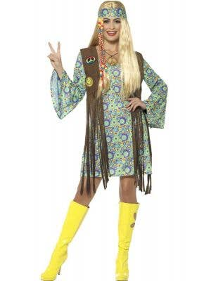 Women's Groovy Hippie Chick 60s Costume - Front View
