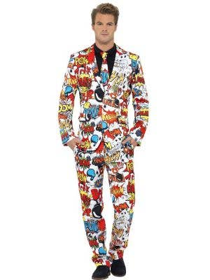 Men's Stand Out Comic Strip Suit Front View