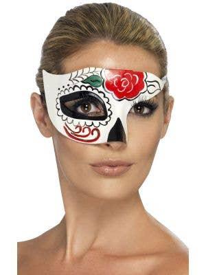 White Sugar Skull Over Eye Masquerade Mask