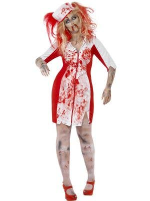 Women's Plus Size Blood Stained Zombie Nurse Halloween Costume Front View