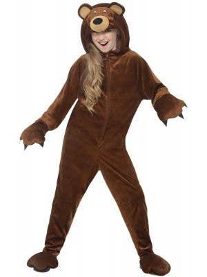 Bear Jumpsuit Brown Animal Onesie Kids Costume