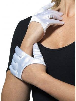Women's Cropped White Satin Costume Gloves