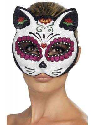 Glitter Sugar Skull Mexican Cat Skull Mask