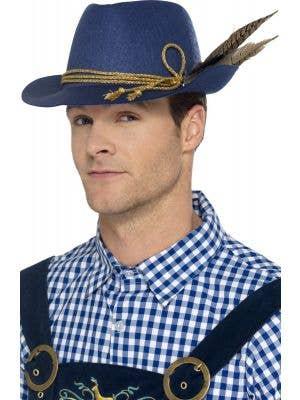 Blue Bavarian Oktoberfest Men's Hat with Feathers Main Image