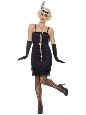1920s Black Gatsby Flapper Costume with Black Gloves and Matching Headband - Image 1