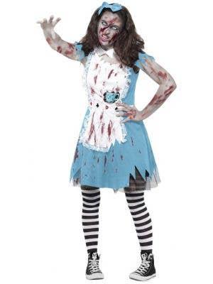 Teen Girl's Zombie Alice In Wonderland Twisted Fairytale Fancy Dress Halloween Costume Main Image