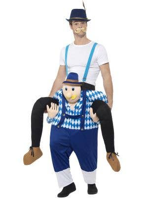 Funny Men's Bavarian Piggyback Oktoberfest Fancy Dress Costume Front View 1