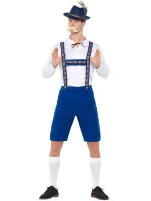 Oktoberfest Men's White and Blue Bavarian Lederhosen Fancy Dress Costume Front View 1