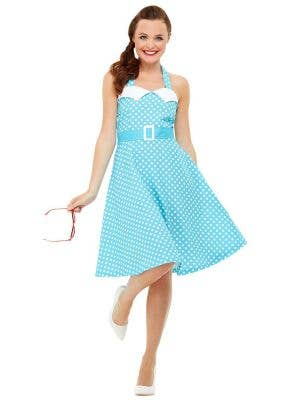 Blue Polka Dot Womens Pin Up 50s Dress Up Costume - Front Image