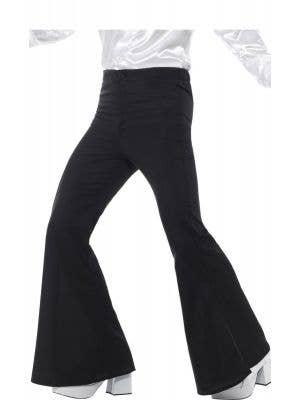 Flared Black 1970's Men's Trousers Costume Pants