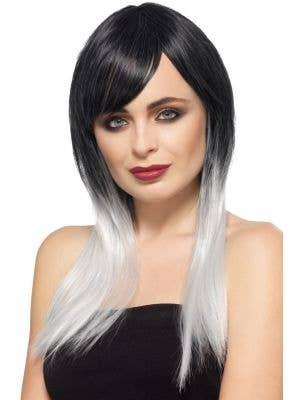 Women's Long Black and White Heat Resistant Deluxe Ombre Wig Main Image