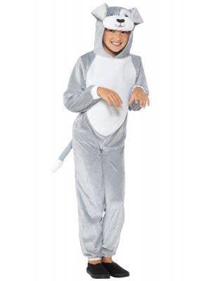 Cute Dog Kids Grey Jumpsuit Animal Costume