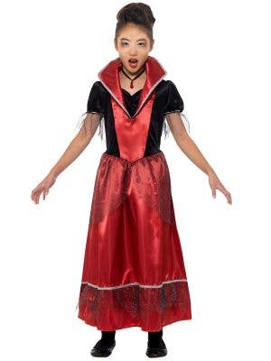 Girls Red and Black Vampire Princess Halloween Fancy Dress Costume Front Image