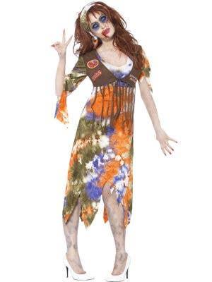 Groovy Women's 70's Woodstock Zombie Hippie Halloween Costume Front Image