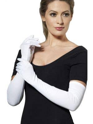 Smiffys Extra Long White Costume Women-s Gloves - Main View
