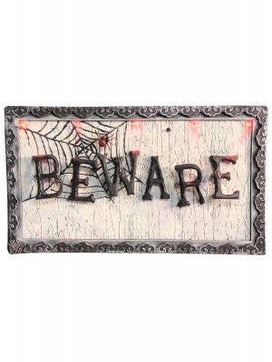 Light Up Beware Sign Halloween Decoration