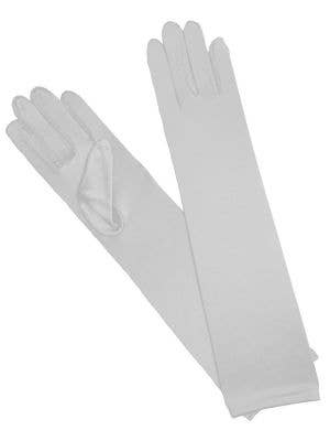Long White Satin Gloves 1920's Costume Accessory