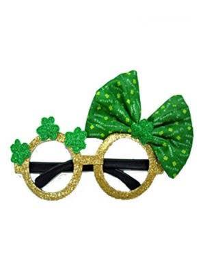Shamrock Bow Novelty Irish Glasses Costume Accessory