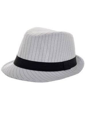 White Gangster Fedora with Black Stripes