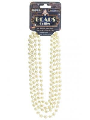 1920s Vintage Cream Coloured Flapper Beads Great Gatsby Costume Accessory - Main Image