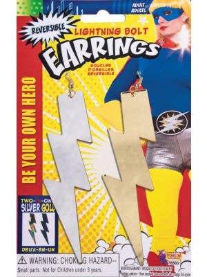 Women's Gold And Silver Two Toned Lightning Bolt Superhero Fancy Dress Costume Earrings