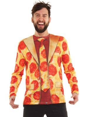 Men's Peperoni Pizza Print Faux Shirt, Tie and Jacket Costume T-shirt Front