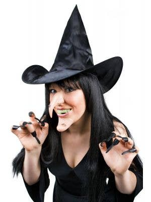 Wicked Witch Hat, Nose, Chin, Teeth, and Nails Costume Kit