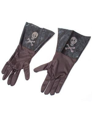 Skull and Cross Bone Pirate Black Costume Gloves