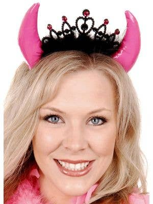 Pink Devil Costume Horns with Tiara