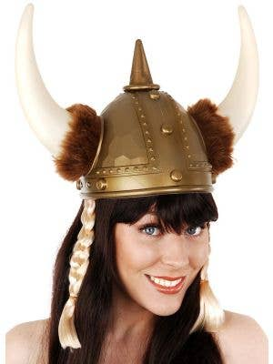 Nordic Warrior Gold Viking Helmet with Plaits