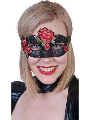 Rose Bloom Black and Red Women's Masquerade Mask