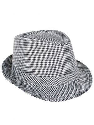 Black and White Checkered Fedora Hat Front View