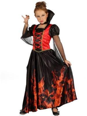 Flaming Vampiress Girls Halloween Costume
