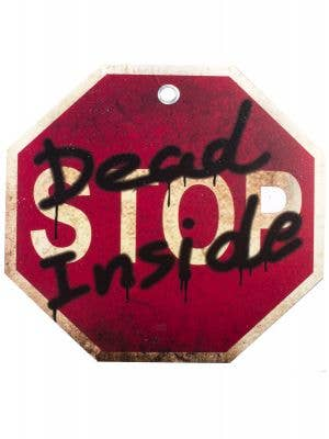 Red Stop Sign with Dead Inside Halloween Decoration