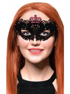 Flocked Finish Black and Pink Crown Masquerade Mask