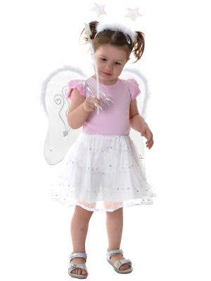 Little Angel Toddler's White Tutu and Wings Costume Set