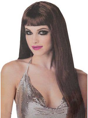 Women's Long Brown Straight Costume Wig with Fringe