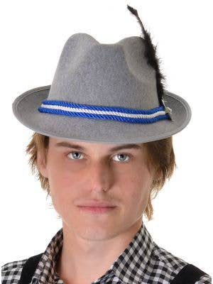 Grey Fedora Blue and White Oktoberfest Hat