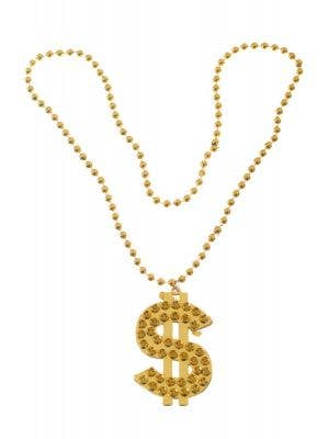Gold Dollar Sign Bling Necklace Costume Accessory Main Image