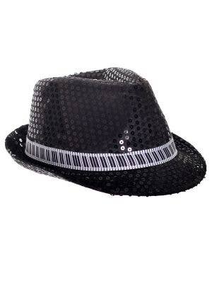 Black Sequin Fedora Costume Hat with Piano Key Band