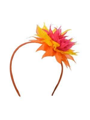 Hawaiian Orange Spiked Flower Headband Costume Accessory