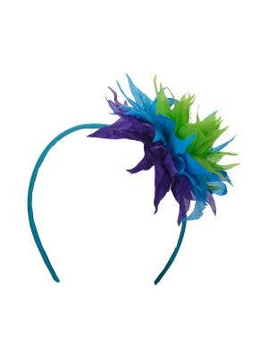 Hawaiian Spiked Blue Flower Headband Costume Accessory